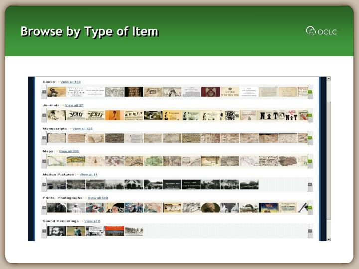 Browse by Type of Item