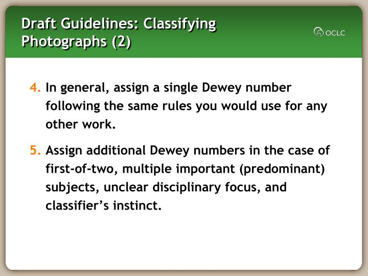 Draft Guidelines: Classifying Photographs (2)