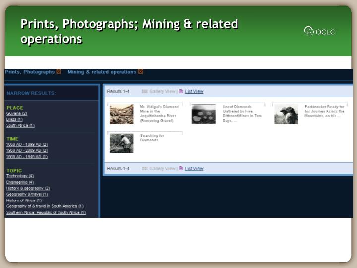 Prints, Photographs; Mining & related operations