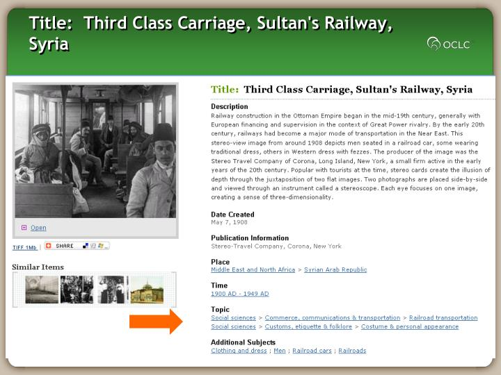 Title: Third Class Carriage, Sultan's Railway, Syria