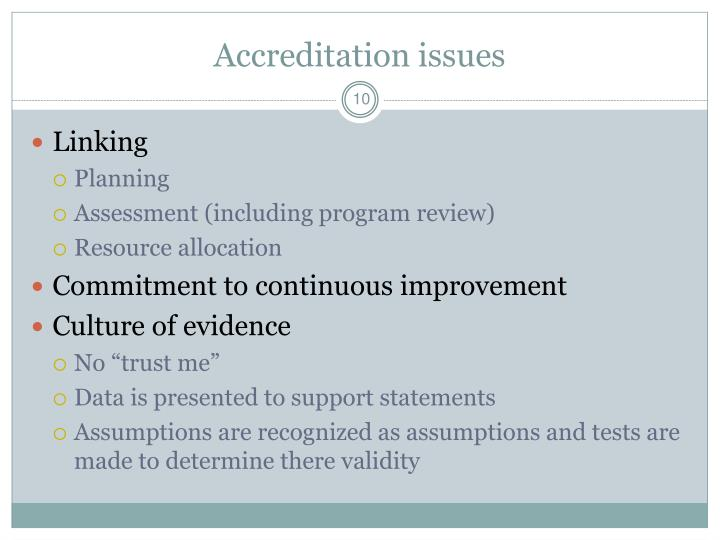 Accreditation issues