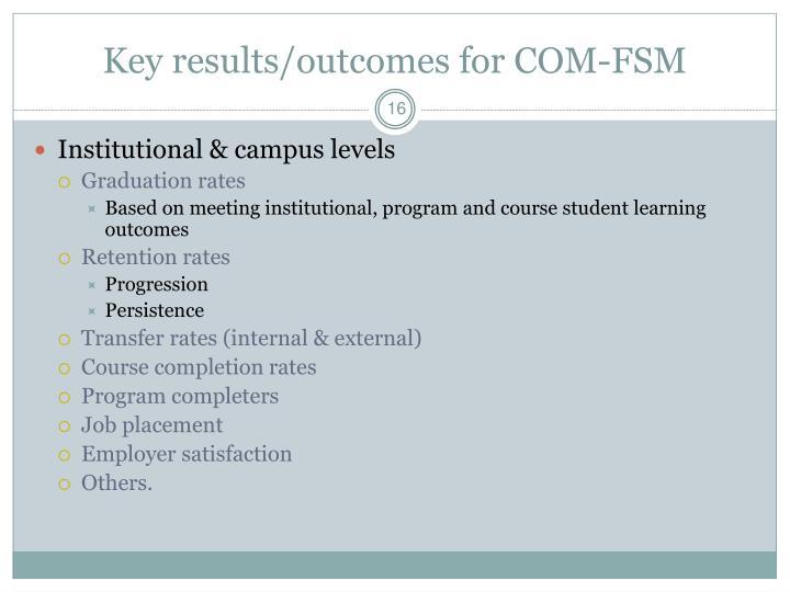Key results/outcomes for COM-FSM