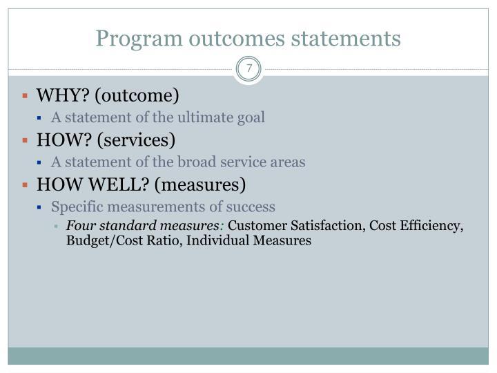 Program outcomes statements