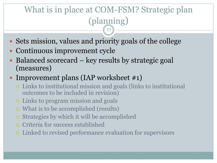 What is in place at COM-FSM? Strategic plan (planning