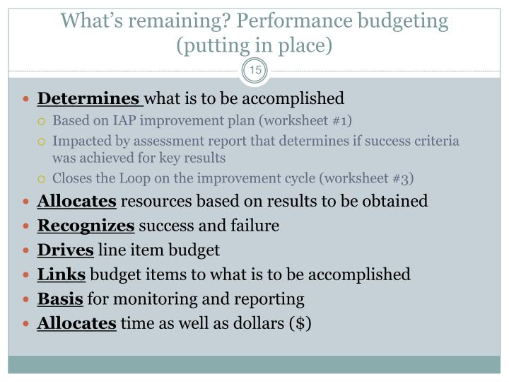 What's remaining? Performance budgeting  (putting in place)