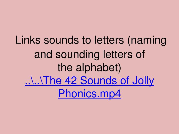 Links sounds to letters (naming and sounding letters of