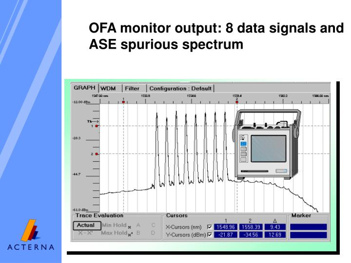 OFA monitor output: 8 data signals and ASE spurious spectrum