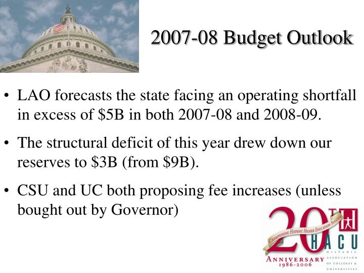 2007-08 Budget Outlook