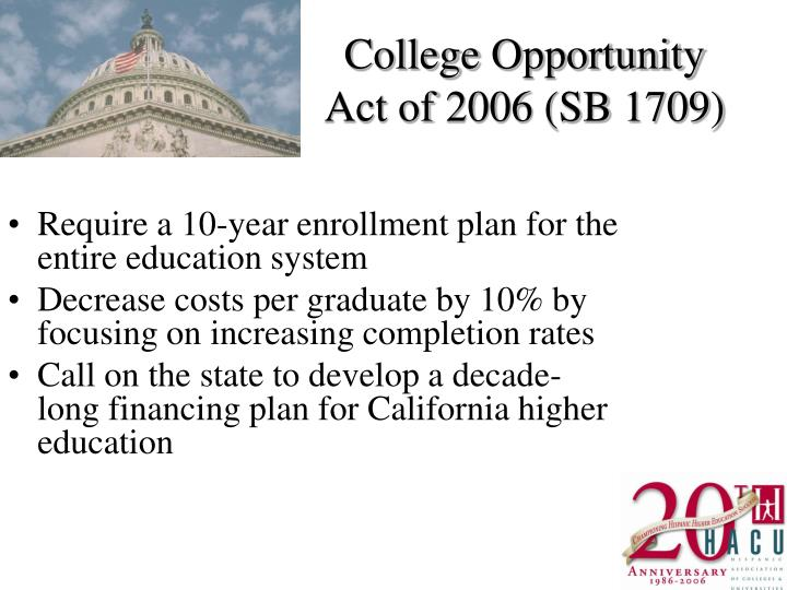 College Opportunity Act of 2006 (SB 1709)