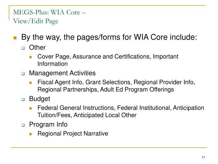 MEGS-Plus: WIA Core –