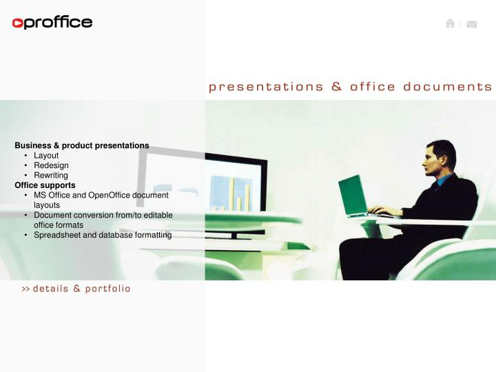 Business & product presentations