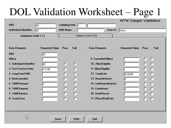 DOL Validation Worksheet – Page 1