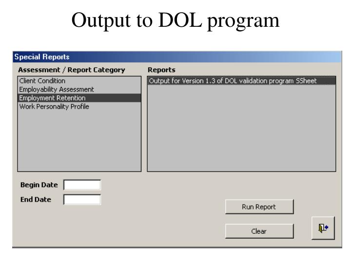 Output to DOL program