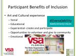 participant benefits of inclusion