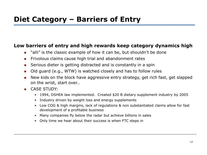 Diet Category – Barriers of Entry