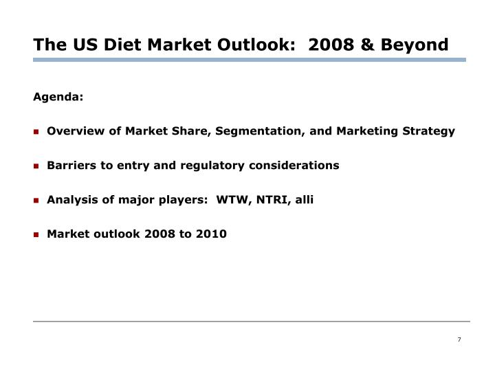 The US Diet Market Outlook:  2008 & Beyond