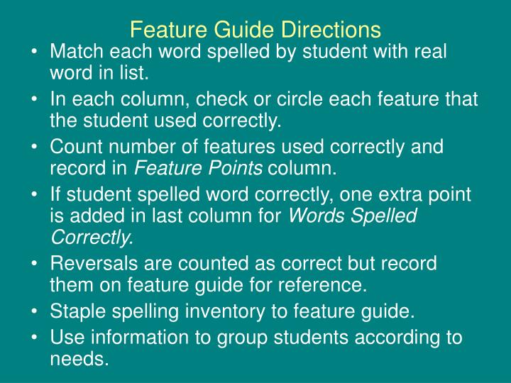 Feature Guide Directions