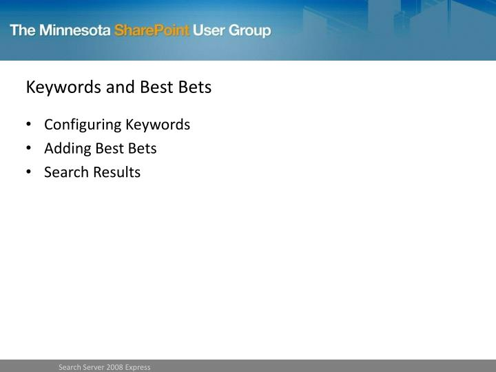 Keywords and Best Bets