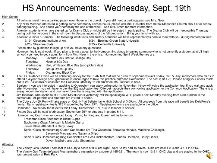 hs announcements wednesday sept 19th n.