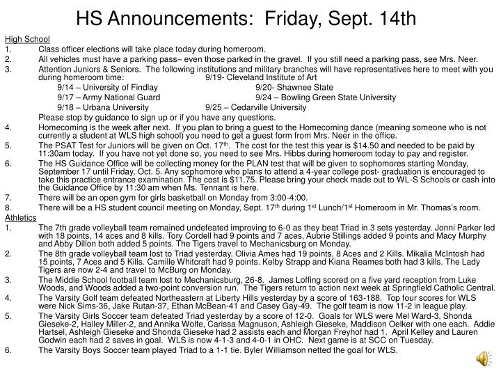Hs announcements friday sept 14th