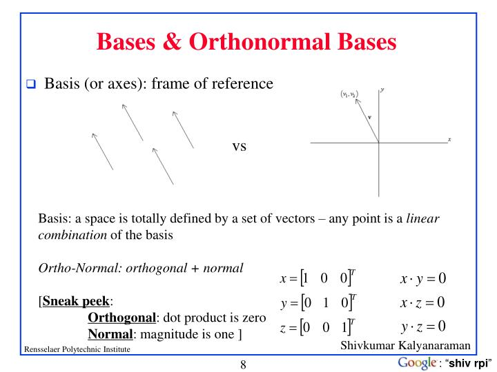 Bases & Orthonormal Bases