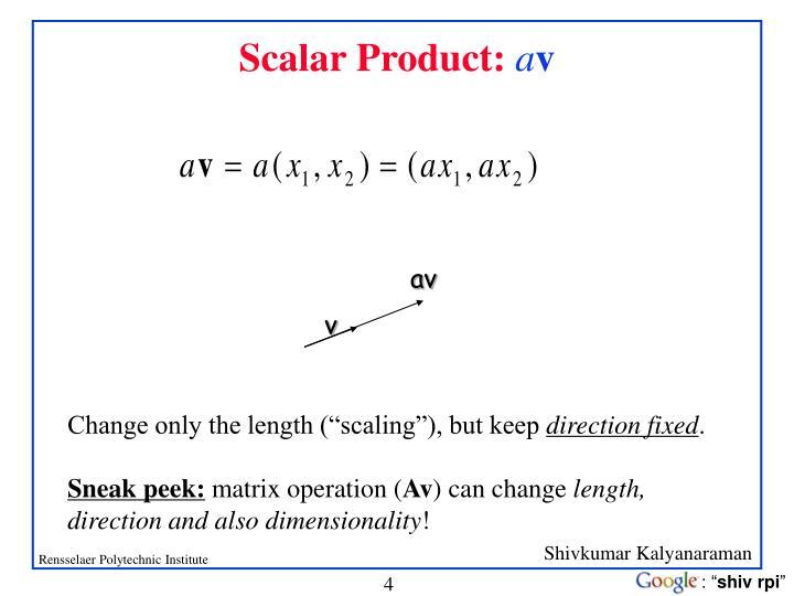 Scalar Product: