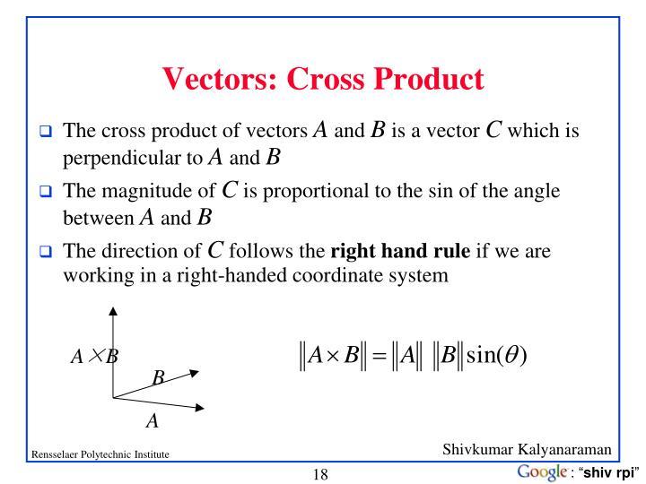 Vectors: Cross Product