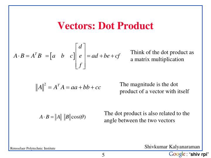 Vectors: Dot Product