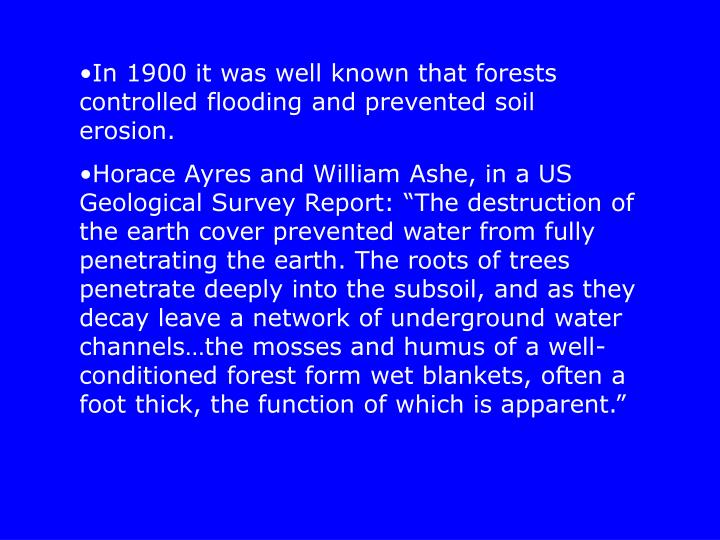 In 1900 it was well known that forests controlled flooding and prevented soil erosion.