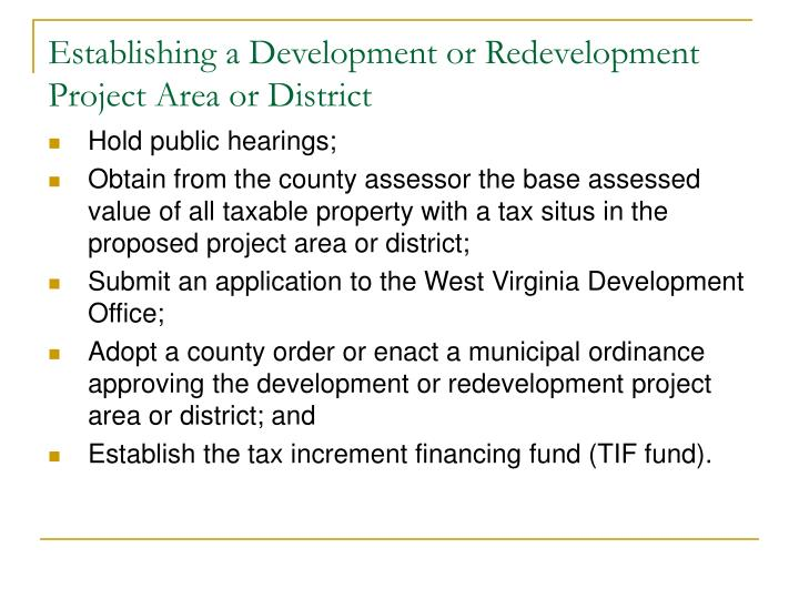 Establishing a Development or Redevelopment Project Area or District