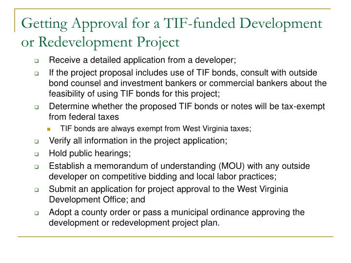 Getting Approval for a TIF-funded Development or Redevelopment Project
