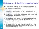 monitoring and evaluation of fellowships cont