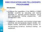 wmo education and fellowships programme