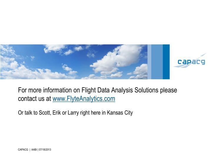 For more information on Flight Data Analysis Solutions please contact us at