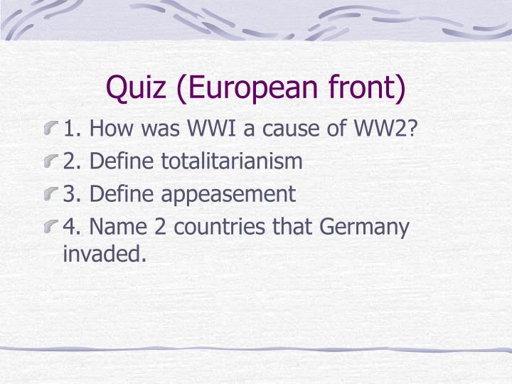 Quiz (European front)