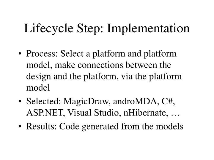 Lifecycle Step: Implementation