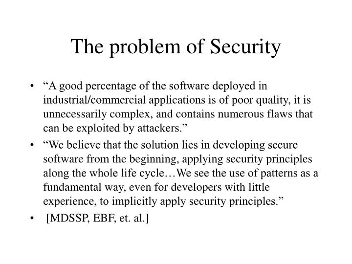 The problem of security
