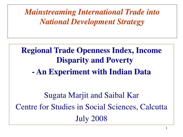 mainstreaming international trade into national development strategy n.