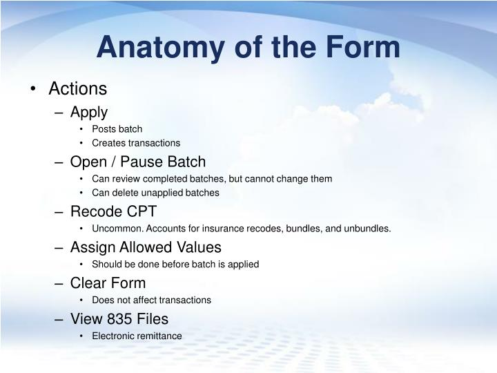 Anatomy of the Form