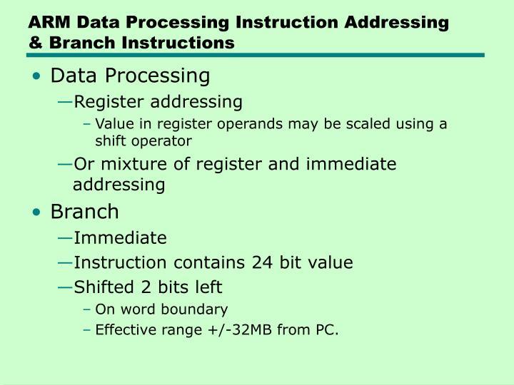 ARM Data Processing Instruction Addressing