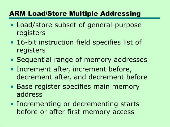 ARM Load/Store Multiple Addressing
