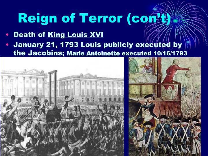 Reign of Terror (con't)