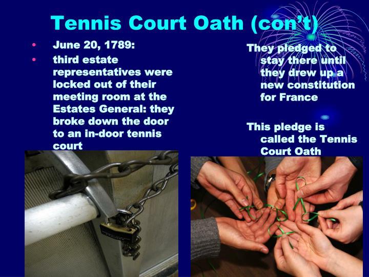 Tennis Court Oath (con't)