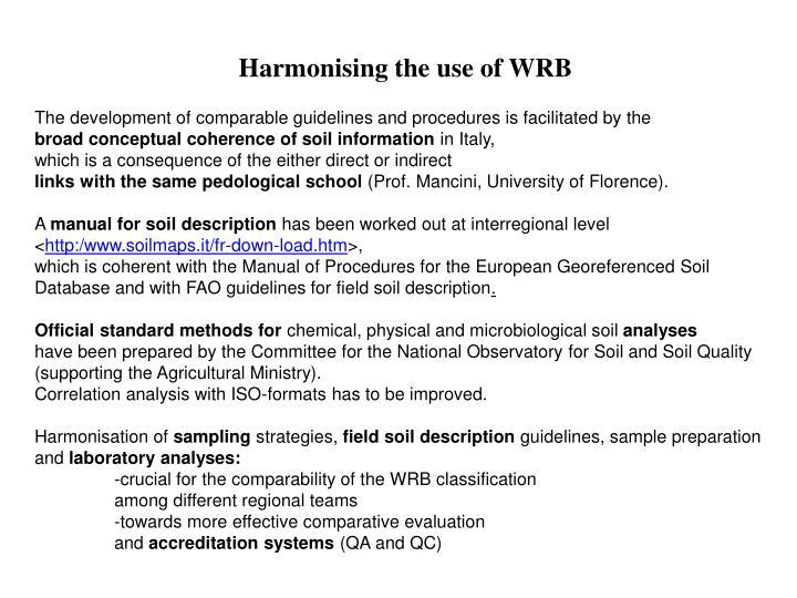 Harmonising the use of WRB