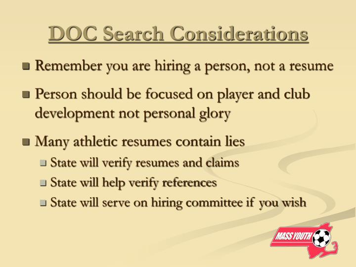 DOC Search Considerations