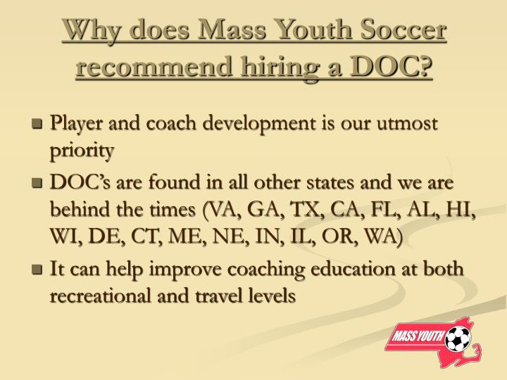 Why does mass youth soccer recommend hiring a doc