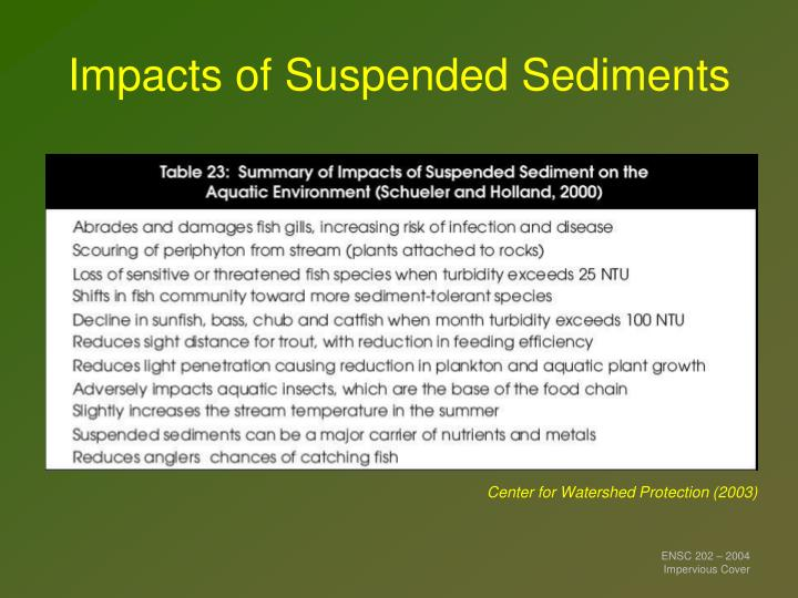 Impacts of Suspended Sediments