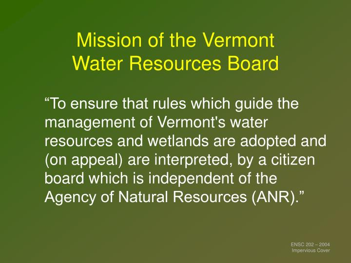 Mission of the Vermont