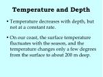 temperature and depth