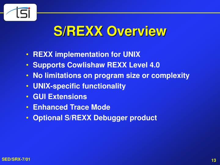 S/REXX Overview